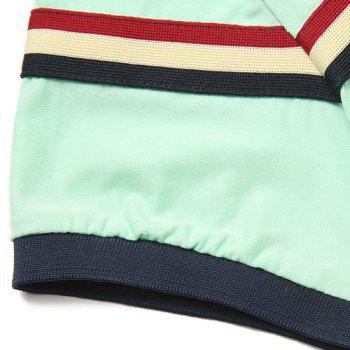 Stand Collar Color Block Stripes Printed Short Sleeve Men's Polo T-Shirt - L L