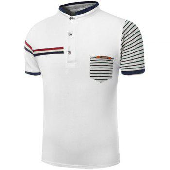 Stand Collar Color Block Stripes Printed Short Sleeve Men's Polo T-Shirt - WHITE L