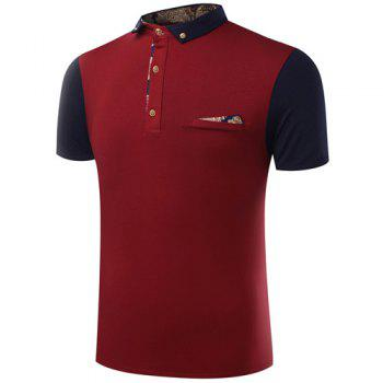 Turn-Down Collar Button Embellished Color Block Spliced Short Sleeve Men's Polo T-Shirt - WINE RED 2XL