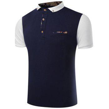 Turn-Down Collar Button Embellished Color Block Spliced Short Sleeve Men's Polo T-Shirt