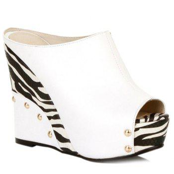 Trendy Zebra-Stripe and Wedge Heel Design Women's Slippers - WHITE WHITE