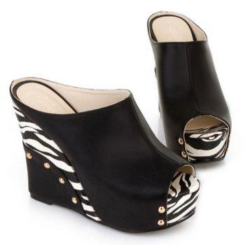 Trendy Zebra-Stripe and Wedge Heel Design Women's Slippers - BLACK BLACK