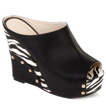 Trendy Zebra-Stripe and Wedge Heel Design Women's Slippers - BLACK 38