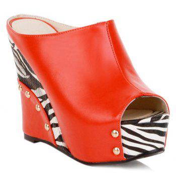 Trendy Zebra-Stripe and Wedge Heel Design Women's Slippers