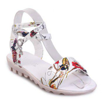 Casual Flower Print and Cross-Strap Design Women's Sandals