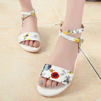Casual Flower Print and Cross-Strap Design Women's Sandals - WHITE 38