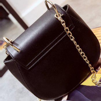 Trendy Chain and Embroidery Design Women's Crossbody Bag - BLACK