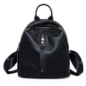 Preppy Solid Color and PU Leather Design Backpack For Women