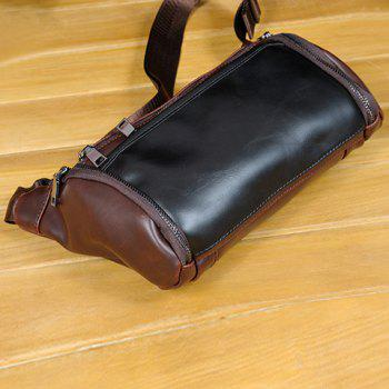 Casual Solid Colour and PU Leather Design Messenger Bag For Men -  COFFEE