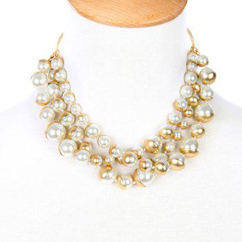 Graceful Multilayered Faux Pearl Necklace For Women - WHITE