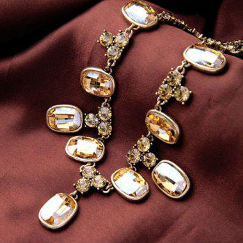 Graceful Faux Crystal Geometric Necklace For Women - CHAMPAGNE GOLD