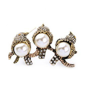 Chic Faux Pearl Rhinestone Bird Brooch For Women