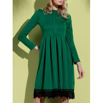 Attractive Round Collar Lace Hem Long Sleeve Ruffled Dress For Women - XL XL