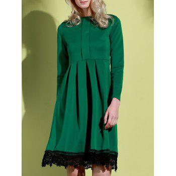 Attractive Round Collar Lace Hem Long Sleeve Ruffled Dress For Women - GREEN XL