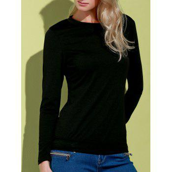 Stylish Long Sleeve Scoop Neck Skull Pattern Hollow Out Women's T-Shirt - BLACK S
