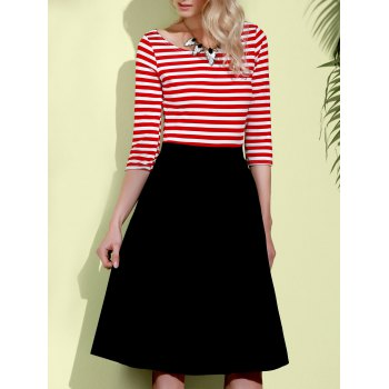 Graceful 3/4 Sleeve Round Neck Striped Women's A-Line Dress
