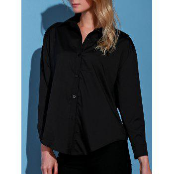 Stylish Turn-Down Collar Black Single-Breasted Long Sleeve Women's Blouse