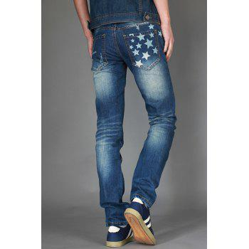 Zipper Fly Slimming Bleach Wash Star Print Straight Leg Men's Jeans - BLUE 31