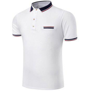 Trendy Turn-Down Collar Color Block Spliced Short Sleeve Men's Polo T-Shirt - WHITE WHITE