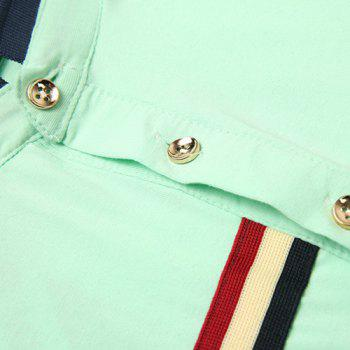 Stand Collar Color Block Stripes Printed Short Sleeve Men's Polo T-Shirt - WHITE WHITE