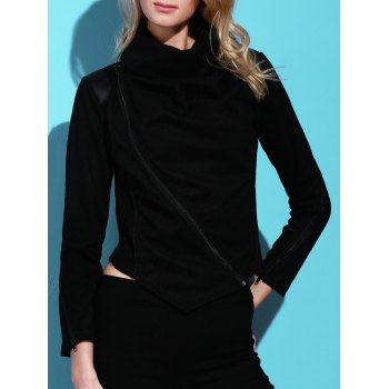 Stylish Long Sleeve Cowl Neck Zippered Women's Leather Trim Jacket