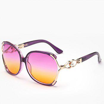 Chic Faux Pearl Inlay Hollow Bow Two Color Lenses Women's Sunglasses - PURPLE PURPLE