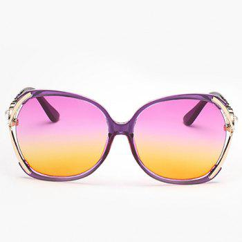 Chic Faux Pearl Inlay Hollow Bow Two Color Lenses Women's Sunglasses -  PURPLE