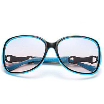 Chic Hollow Metal Embellished Black and Blue Women's Sunglasses -  BLUE/BLACK