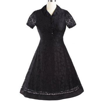 Retro Buttoned V-Neck Short Sleeve Women's Pin Up Dress