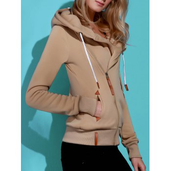 Casual Style Solid Color Long Sleeves Women's Hoodie - KHAKI M