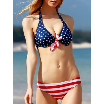 Refreshing Halter Neck Striped Star Print Three-Piece Women's Bathing Suit