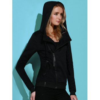 Casual Style Solid Color Long Sleeves Women's Hoodie - BLACK XL