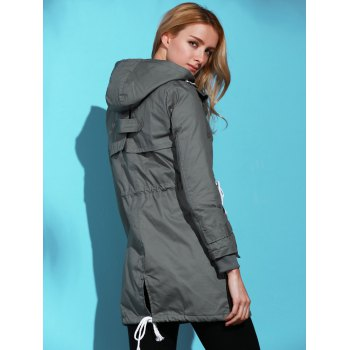Women's Chic Long Sleeve Solid Color Pocket Coat - DEEP GRAY M