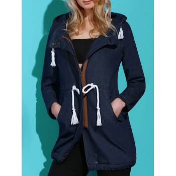 Stylish Long Sleeve Hooded Drawstring Women's Mid Length Coat - BLUE L