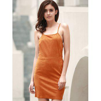 Sexy Spaghetti Strap Sleeveless Solid Color Lace-Up Women's Cami Dress - ORANGE RED L