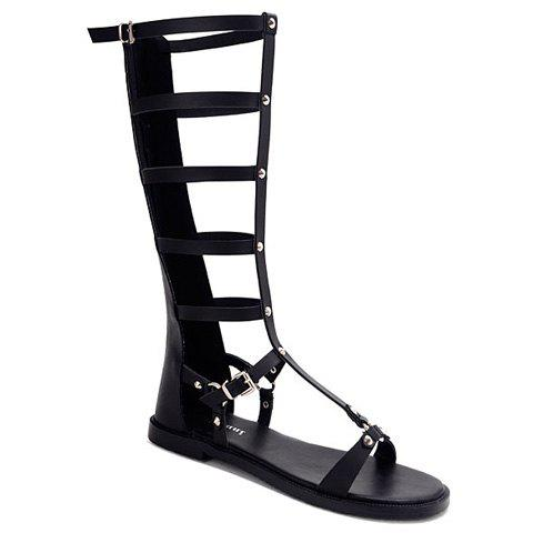 Fashionable Zipper and Hollow Out Design Sandals For Women - BLACK 38