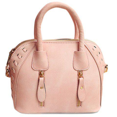 Fashionable Zippers and Solid Colour Design Women's Tote Bag - PINK