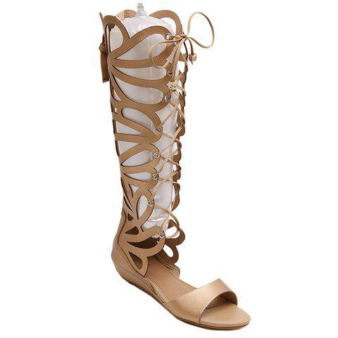 Fashion PU Leather and Hollow Out Design Sandals For Women - GOLDEN 36