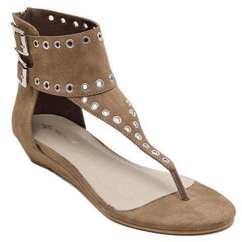 Trendy Flip Flops and Suede Design Sandals For Women - KHAKI 37