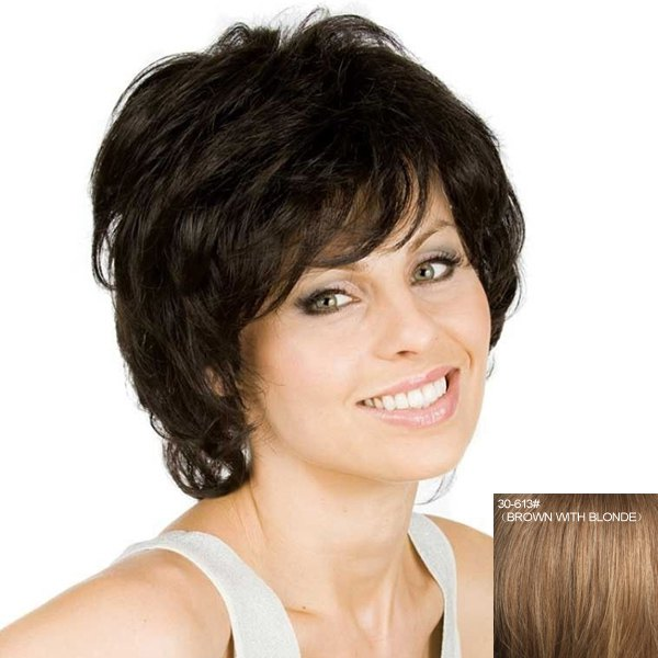 Women's Curly Fluffy Inclined Bang Human Hair Wig