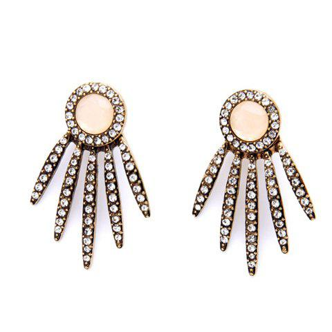 Pair of Leaf Rhinestoned Earrings - GOLDEN