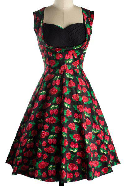 Vintage Women's Sweetheart Neckline Print Midi Dress - BLACK L