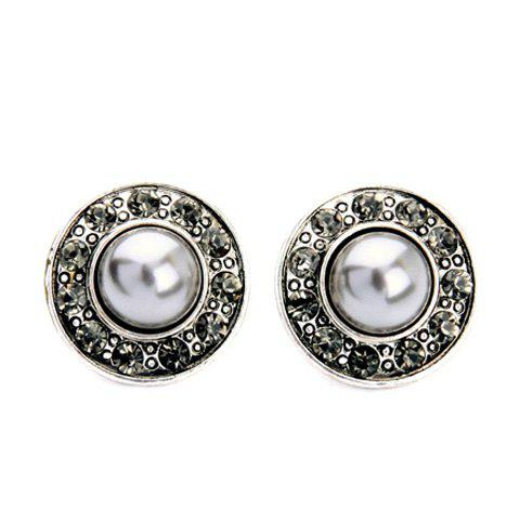 Diamanted Faux Pearl Round Stud Earrings - SILVER