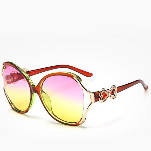 Chic Hollow Out Heart Bow Design Two Color Lenses Women's Sunglasses - RED