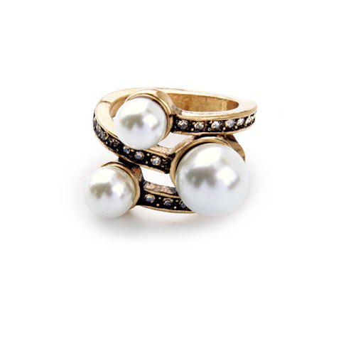 Chic Faux Pearl Rhinestone Ring For Women - GOLDEN ONE-SIZE