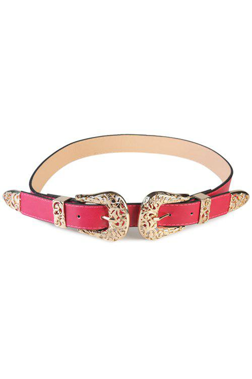Stylish Alloy Double Buckle Waistband For Women - ROSE