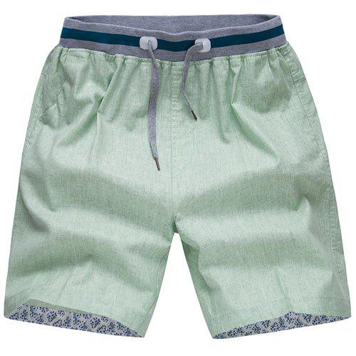 Waist Spliced Design Straight Leg Lace-Up Men's Cotton+Linen Shorts - PEA GREEN 4XL