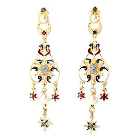 Pair of Trendy Glaze Star Tassel Earrings For Women