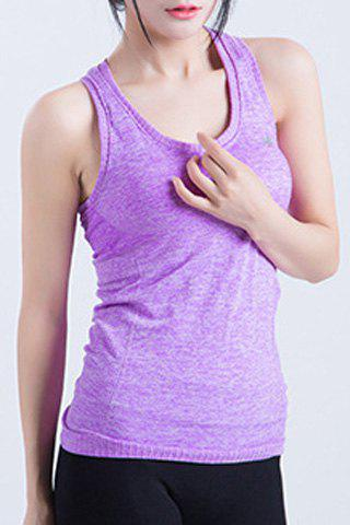 Trendy  Scoop Neck Candy Color Sport Tank Top For Women - M PURPLE