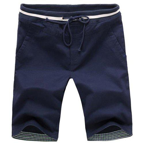 Slimming Straight Leg Plaid Spliced Men's Lace-Up Shorts - CADETBLUE L
